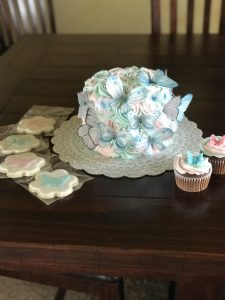 Butterfly themed birthday with cake, cookies, and cupcakes